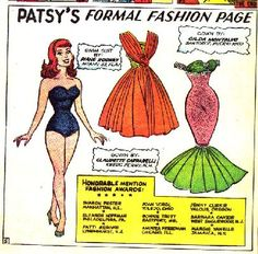 patsy walker paper doll page...with fashions designed by readers