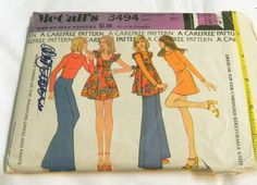 """1970s Pinafore Dress Wide Leg Pants sewing pattern McCalls 3494 Size 10 Bust 32.5"""" by retroactivefuture on Etsy"""