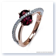 This 18k white and rose gold ring features a captivating pink tourmaline center with a whimsical band of white diamonds crossing over the stone without overshadowing its beauty. The rose gold effortlessly melts into the white gold, creating a delicious contrast.  The multilayered look is a showstopper wherever you go.
