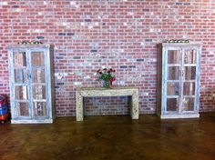 B & J Seafood in Hammond, LA filled up their warehouse store with furniture from Discoveries. Here is a pair of reclaimed teak cabinets with a one-of-a-kind console table.