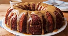 Skinny Apple Cake With Caramel Glaze Recipe Desserts with cooking spray, yellow cake mix, flour, unsweetened applesauce, unsweetened apple juice, canola oil, cinnamon, vanilla extract, large eggs, apples, light brown sugar, granulated sugar, unsweetened apple juice, vanilla, cinnamon, colored sprinkles
