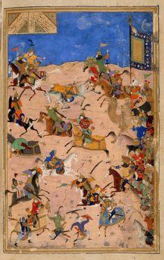 Battle between Iskandar and Dara, ascribed to Bihzad, from the Iskandarnāmah