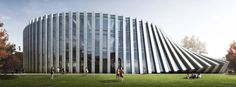 World Architecture Community News - BIG adds twisted semi-transparent building to Isenberg School of Management in Massachusetts Round Building, Big Building, School Building, Building Design, Building Skin, Big Architects, Modern Architects, Modern Architecture Design, Modern Buildings