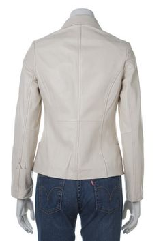 Womens leather jacket custom made style 1062NL White back image