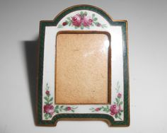 Guilloche Picture Frame Miniature Enameled by Libbysmomsvintage