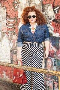 Jeans Shirt, Ethnic necklace, striped pants Flaminga Plus Size Store Model + Styling : Babu Carreira @São Paulo, Brazil