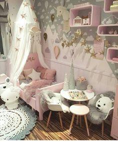 Grey and Pink Little Girl's Bedroom Girl Bedroom Designs, Girls Bedroom, Girl Dorms, Princess Room, Toddler Rooms, Deco Design, Little Girl Rooms, Kids Room, Wall Decals