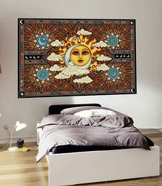 Sun Moon Celestial Tapestry Wall Hanging signed by Artist Dan Morris titled Heavenly Sun And Moon Tapestry, Small Tapestry, Large Tapestries, Mandala Tapestry, Tapestry Wall Hanging, Room Tapestry, Wall Hangings, Art Of Dan, Dan Morris