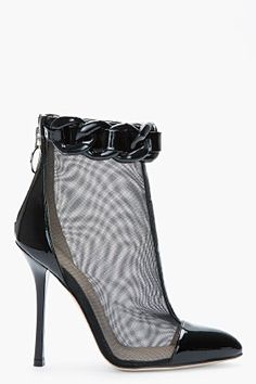 VERSUS Black mesh and chain trompe loeil ankle boots
