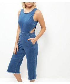 Petite Blue Denim Cut Out Jumpsuit   New Look