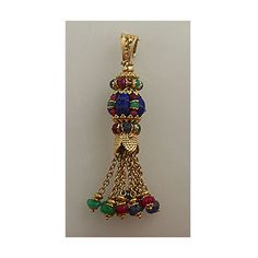 Antique Style Pendant Carved Sapphire, Ruby and Emerald Pendant... ($750) ❤ liked on Polyvore featuring jewelry