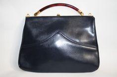 Vintage Clarks Women's Handbag Fashion Designer Navy Blue Amber Handle Gold Fini