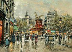 Le Moulin Rouge Place Blanche a Montmartre - Antoine Blanchard