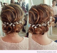 Sweet loose curly updo for shoulder-length hair