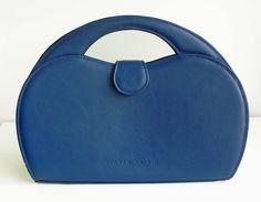 Luxury Denim Blue Leather Top Handle Bag Handmade in England by StevenHarkinHandBags on Etsy