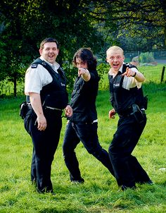 Nick Frost, Edgar Wright, and Simon Pegg on the set of Hot Fuzz.