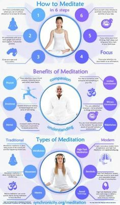 Research suggests that quieting the mind is one of the best things we can do to improve our overall health. Finding a few minutes a day to learn meditation is a great way to relieve stress and quiet the mind. NTS Except for modern bit, good