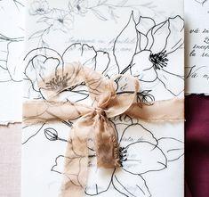 silk ribbon, beige ribbon, beige invitation, botanical flowers, vellum invitation, calligraphy invitation Elegant Invitations, Custom Wedding Invitations, Wedding Stationary, Pocket Invitation, Invitation Envelopes, Black Envelopes, Silk Ribbon, Wedding Designs, Orchids