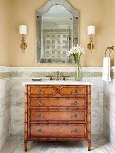 Image result for small bathrooms dresser vanity