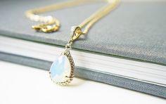 White Opal Glass Pendant Gold Necklace. Simple by KaoriKaori, $27.00