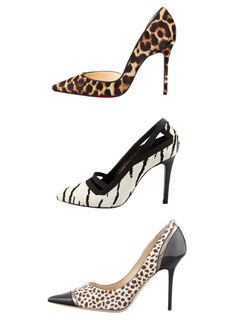 ANIMAL MAGNETISM: point-toe pumps with primal power from Christian Louboutin, Lanvin and Jimmy Choo.