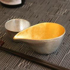NOUSAKU Tin 100% Sake set (Katakuchi inner gild 180ml, Guinomi Choko 78ml)