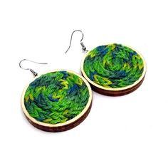 0 Fabric Earrings, Wood Earrings, Fabric Jewelry, Crochet Earrings, Jewellery Earrings, Textiles, Knitted Jewelry, Trending Outfits, Unique Jewelry