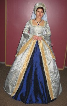 renaissance dress gown with frenc hood/headpiece by eliska on Etsy, $375.00