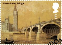 Westminster Bridge, over the River Thames in London. Postage Stamp by Thad Roan…