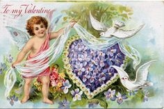 These free vintage Valentine cards feature adorable  cherubs going about the business of helping humans fall in love.