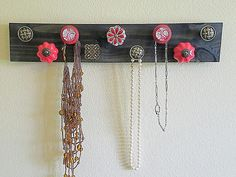 Jewelry Organizer Red Wood Necklace Holder/ Necklace Hanger / Necklace Organizer , with Red and Brass Knobs! Diy Necklace Holder, Necklace Hanger, Diy Jewelry Holder, Jewelry Hanger, Wood Necklace, Diy Jewelry Making, Jewelry Box, Jewelry Stand, Glass Jewelry