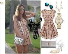 Deer Pattern Mini Dress – Metallic Accessories Combine