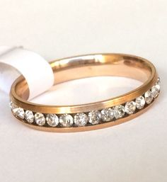 Rose Gold Plated Eternity Ring Crystal Size 7 8 9 10 12 Stainless Steel USSeller #Unbranded #Eternity
