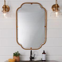 Vintage Bathroom Mirrors, Bathroom Mirror Lights, Vanity Wall Mirror, Rustic Mirrors, Brass Bathroom, Hanging Mirrors, Wall Mirrors, Powder Room Mirrors, Brass Mirror