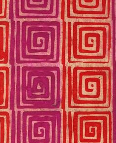 Batik Paper from Nepal- Orange & Magenta Geometric Squares