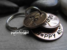 Lucky Us Copper Keychain with THREE lucky pennies by patsdesign