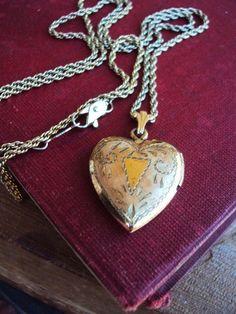 Vintage Locket Necklace Gold filled 14 Kt by primitivepincushion, $58.99