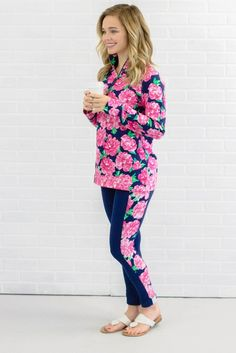Pretty Floral Yoga Pants- Preppy Leggings- $36- Juliana's Boutique