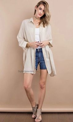 Monet Oversized Shirt Dress Cardigan With Pockets Taupe Stripes Oversized Shirt Dress, Dress With Cardigan, Suit Covers, Vintage Inspired Outfits, Neutral Tones, Swimsuit Cover, Lightweight Jacket, Easel, Monet