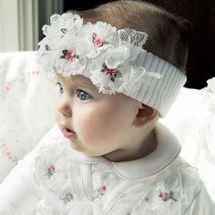 Aletta Girls Ivory Wool Headband with Flowers at Childrensalon.com