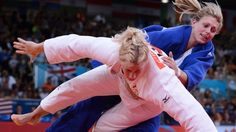 Gemma Gibbons (in the blue) become Great Britain's first Olympic judo (Women's 78Kg) medallist for 12 years