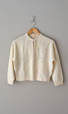 Limonium lambswool cardigan / beaded 1950s sweater / by DearGolden