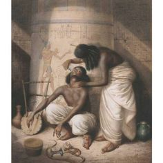 "William Strutt ( 1881 ) ""The Nubian Barber Plies his Simple Trade When Egypt's Haughty Kings in Splendour Reigned"". A Shaving Scene in Nubia. Watercolour."