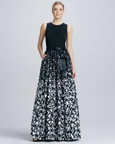 Aidan Mattox Sleeveless Printed Combo Gown - Neiman Marcus