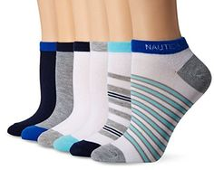 Nautica Womens Stripe 6PP Fashion No Show Socks Multi Colors 911 * You can find out more details at the link of the image.