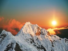 Beautiful mountain with sunset #mountain