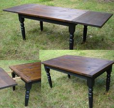 Custom Farm House Table, Painted Turned Legs,  Distressed  Hand-planed Thick Pine Top