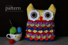 Crochet Owl Cushion With Colorful Feathers - I finally got mine done! I want to make one more so I will have two for our new sunroom (when finished and we get furniture.