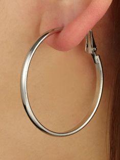 Brief Big Hoop Earrings 2.48 Cheap Earrings, Big Earrings, Silver Hoop Earrings, Travel Wear, Oval Sunglasses, Star Fashion, Women's Fashion, Women's Accessories, Daily Wear