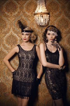Девушки в черных, кружевных платьях, стиль Гэтсби